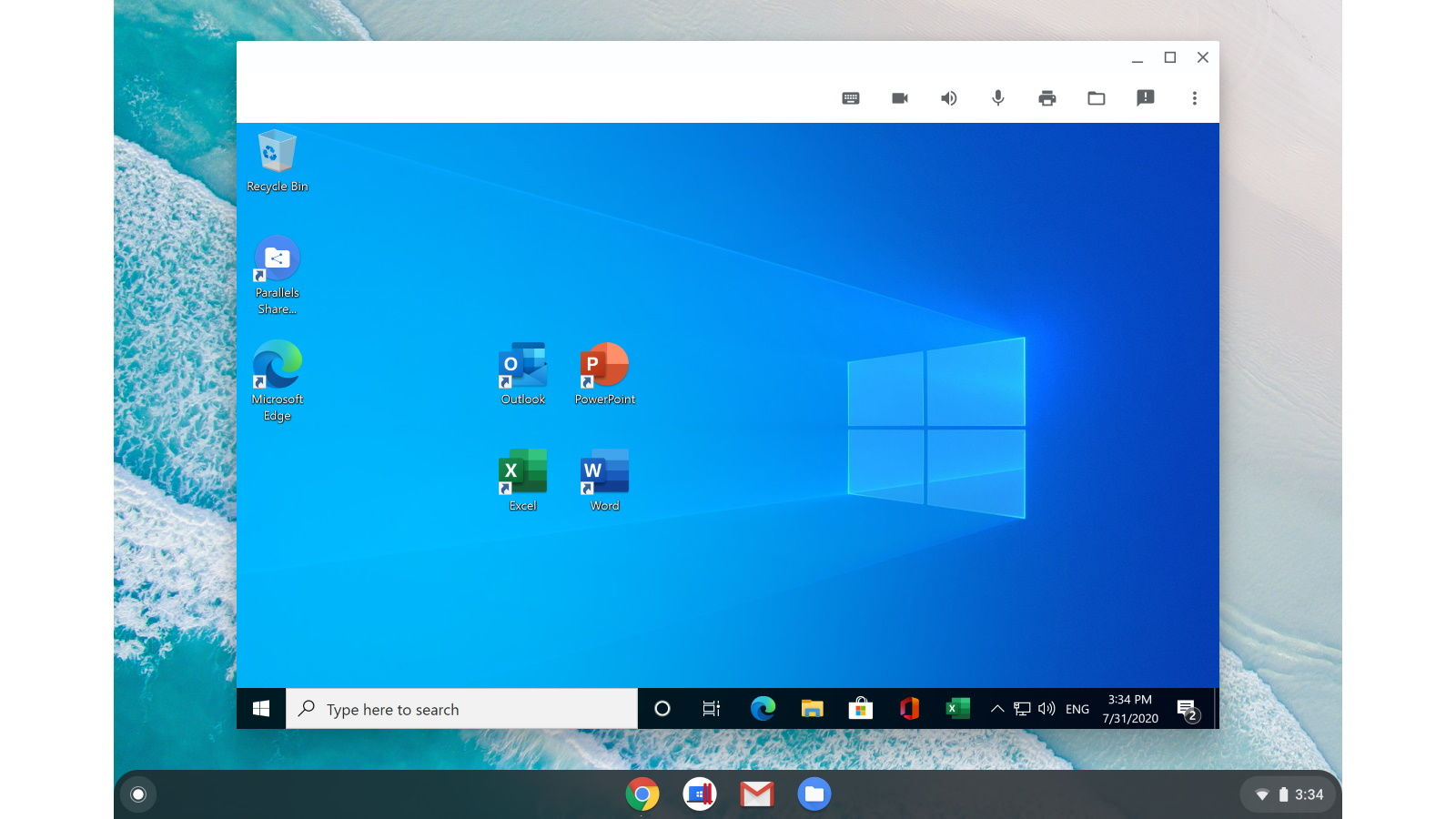 office en chromebook con windows